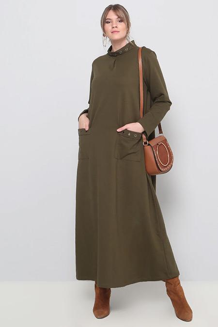 Alia Haki Kuşgözü Detaylı Elbise