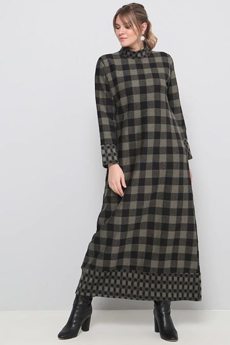 Alia Haki Siyah Kareli Elbise