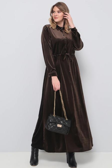 Alia Kahverengi Beli Bağcıklı Kadife Elbise
