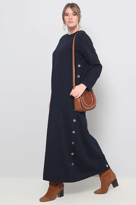 Alia Lacivert Düğme Detaylı Elbise