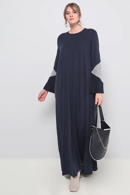Alia Lacivert Garnili Elbise