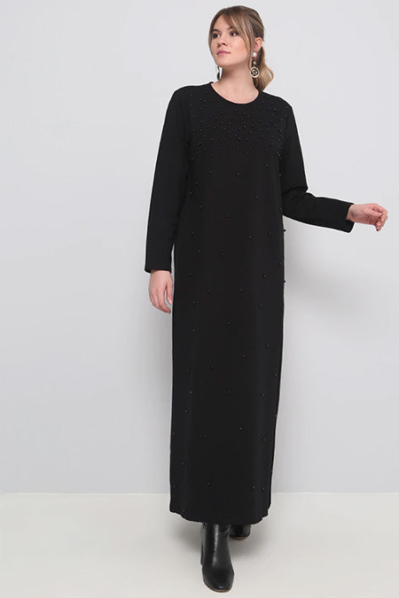 Alia Siyah İncili Elbise