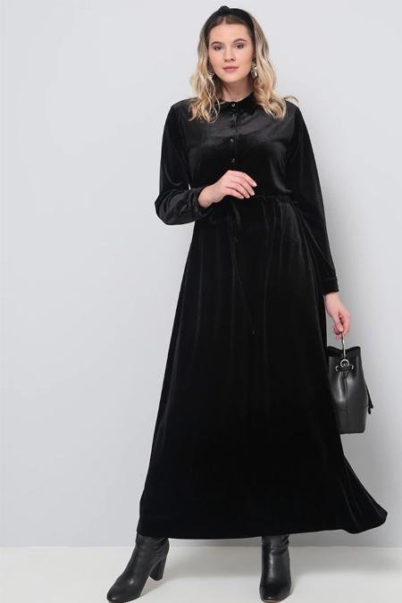 Alia Siyah Beli Bağcıklı Kadife Elbise
