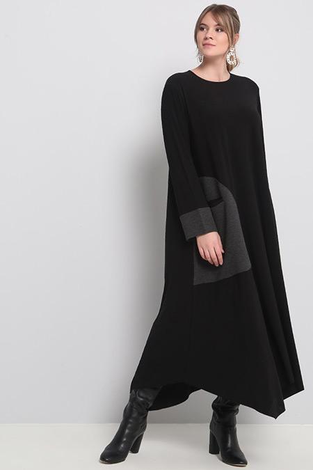 Alia Siyah Cep Detaylı Elbise