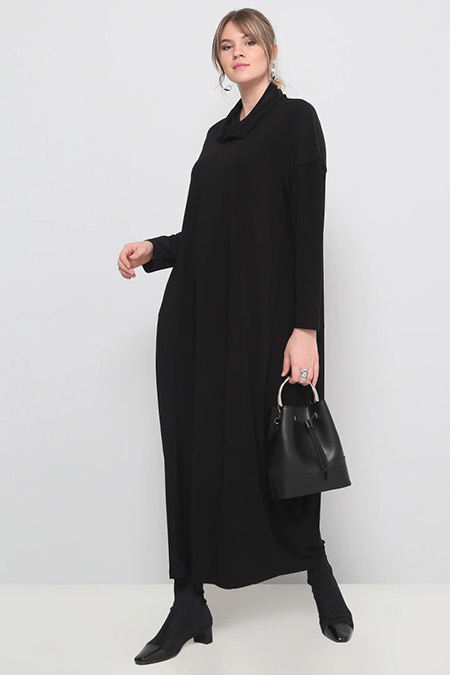 Alia Siyah Düz Renk Elbise