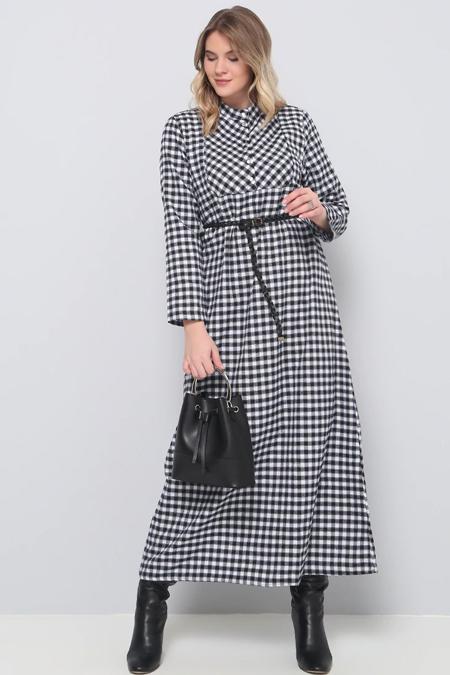 Alia Siyah Ekoseli Elbise