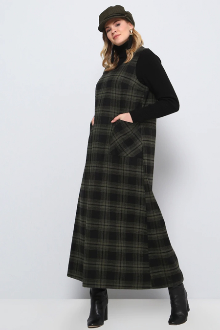 Alia Siyah Haki Doğal Kumaşlı Kolsuz Ekoseli Elbise