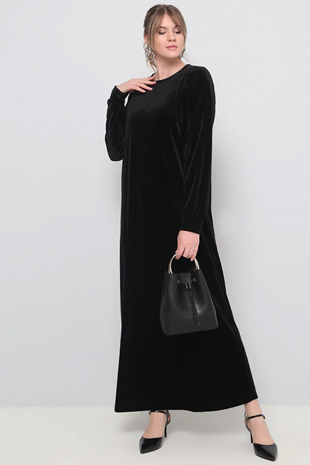 Alia Siyah Kadife Elbise