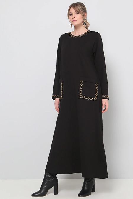 Alia Siyah Zincir Detaylı Elbise