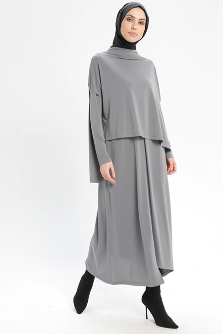 Armine Gri Bluz&Elbise İkili Takım