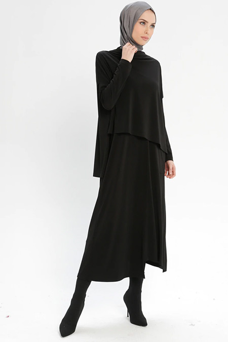 Armine Siyah Bluz&Elbise İkili Takım