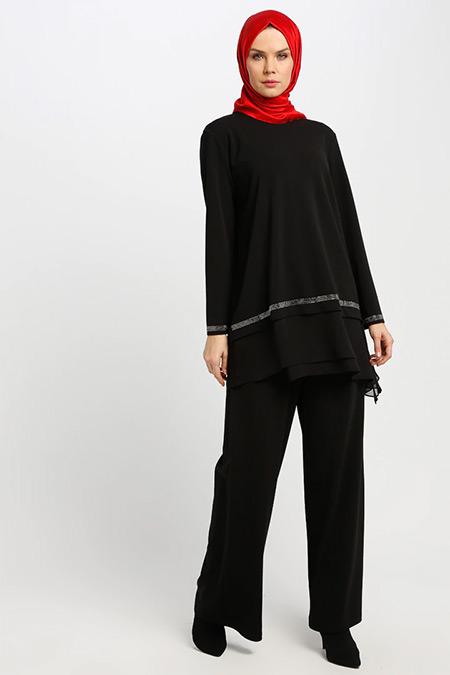 Armine Siyah Tunik&Pantolon İkili Takım