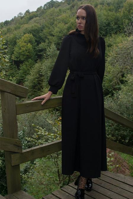 Ayşen Özen Siyah Krep Elbise