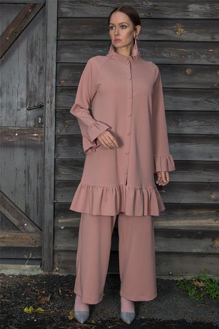 Ayşen Özen Pudra Fırfırlı Tunik & Pantolon İkili Takım