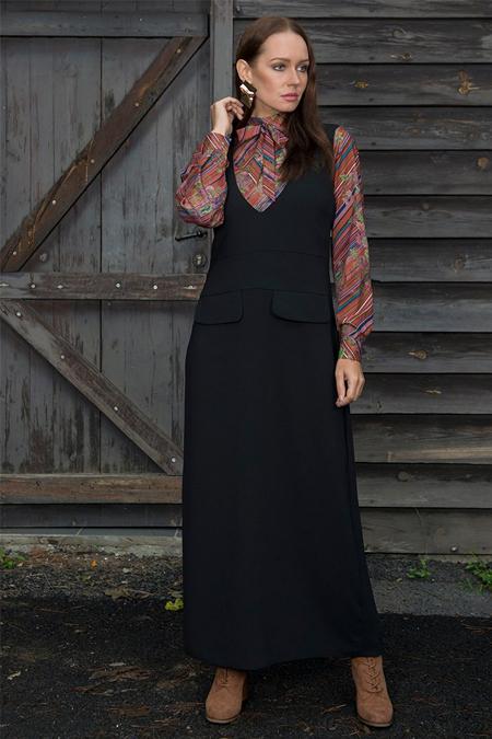 Ayşen Özen Siyah Jile Elbise