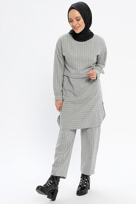 Beha Tesettür Açık Gri Tunik&Pantolon İkili Takım