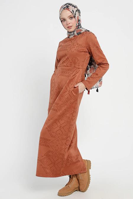 Beha Tesettür Kiremit Desenli Elbise