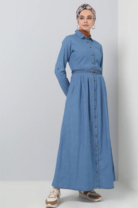 Benin Açık Mavi Doğal Kumaşlı Boydan Düğmeli Kot Elbise