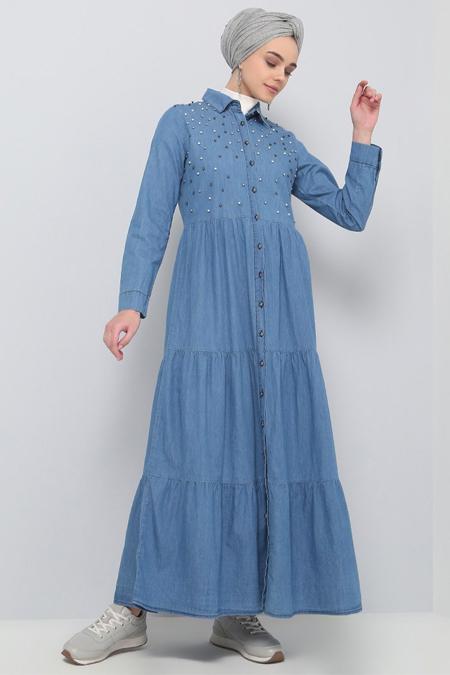 Benin Açık Mavi Doğal Kumaşlı Düğmeli Kot Elbise