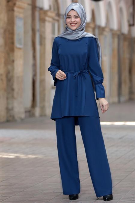 DressLife Saks Sure Tunik & Pantolon İkili Takım