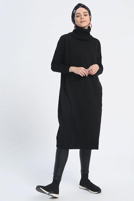 Everyday Basic Siyah Boğazlı Triko Tunik