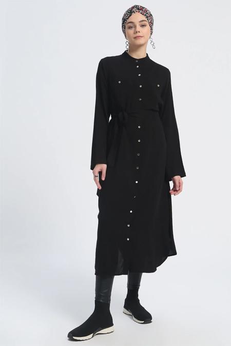 Everyday Basic Siyah Doğal Kumaşlı Düğmeli Tunik