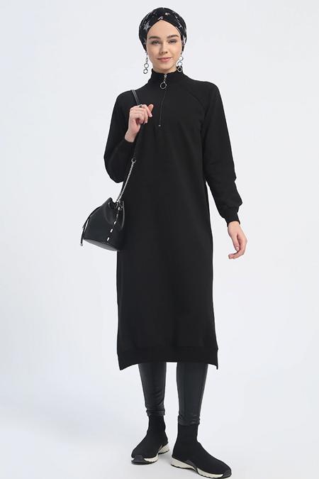 Everyday Basic Siyah Fermuar Detaylı Tunik