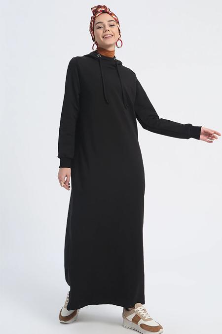 Everyday Basic Siyah Kapüşonlu Spor Elbise