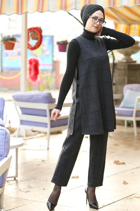 İnşirah Antrasit Tunik & Pantolon İkili Takım