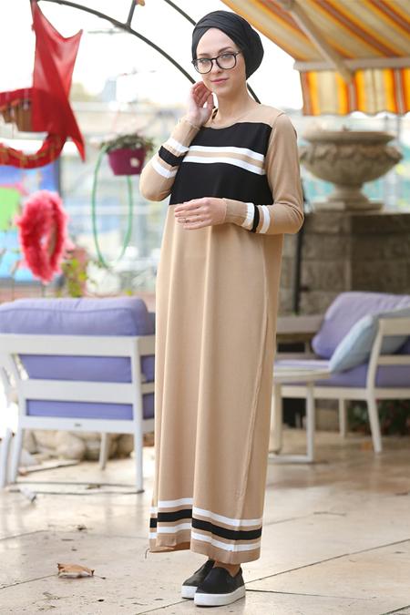 İnşirah Camel Triko Elbise