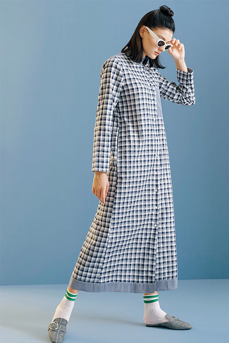 Kuaybe Gider Lacivert Ekoseli Elbise