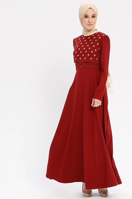 Loreen By Puane Bordo Nakış Detaylı Elbise