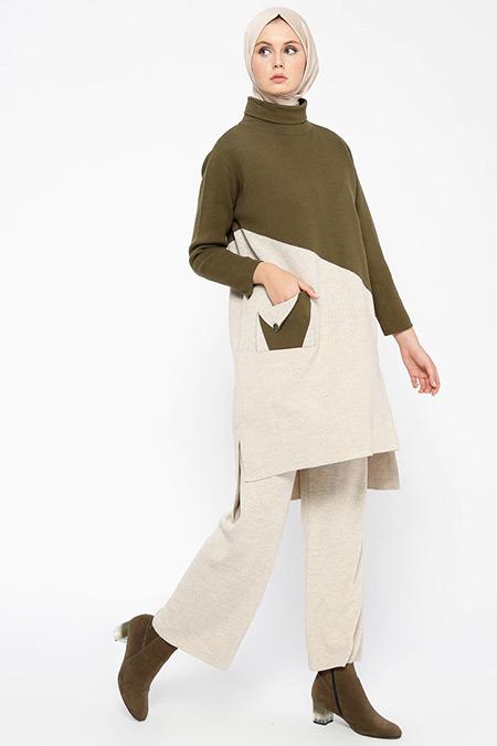 Loreen By Puane Haki Bej Triko Tunik&Pantolon İkili Takım