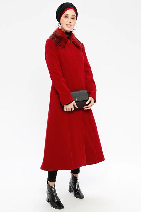 Loreen By Puane Kırmızı Çıkarılabilir Kürk Yakalı Kaşe Kaban