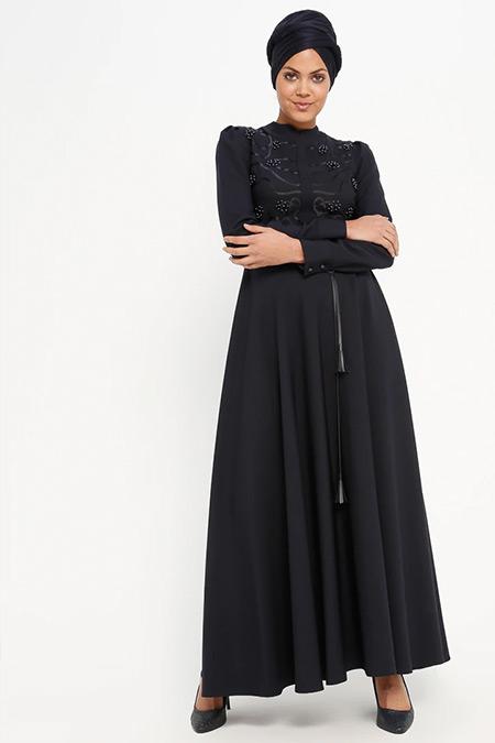 Loreen By Puane Lacivert İnci Detaylı Elbise