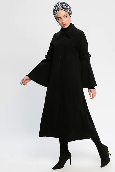 Loreen By Puane Siyah Gizli Düğmeli Kaşe Kaban