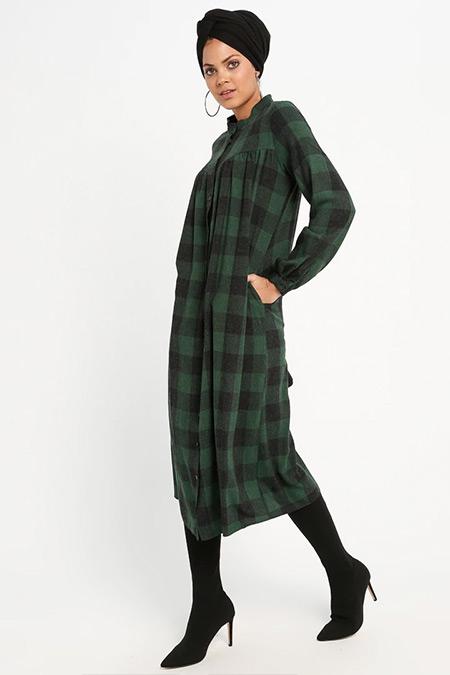Loreen By Puane Yeşil Düğmeli Tunik Elbise