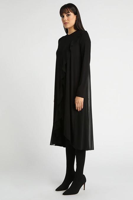 MY MOOD Siyah Şifon Detaylı Tunik