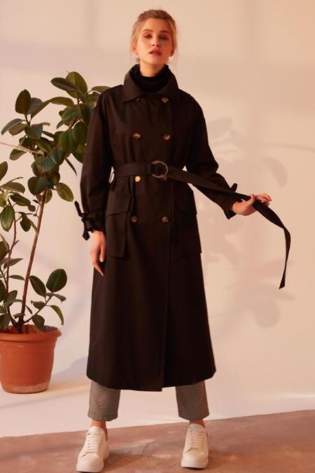 Merve Dağlı Siyah Sally Trençkot