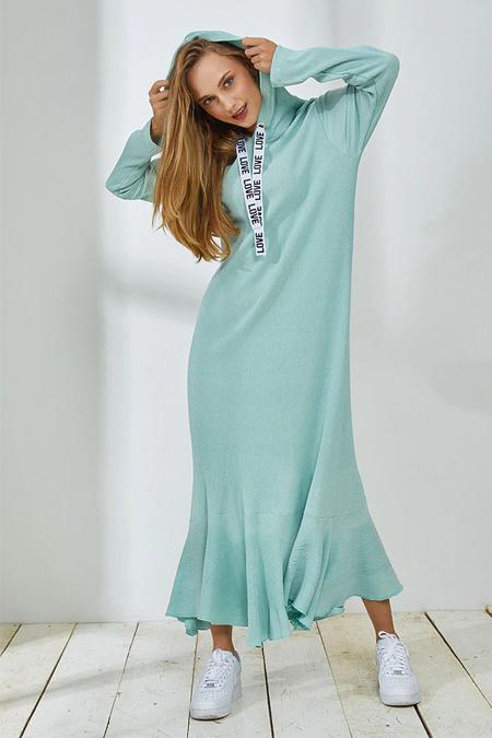 Muni Muni Yeşil Kapüşonlu Elbise