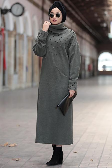 Piennar Haki Kumsal Triko Tunik Elbise