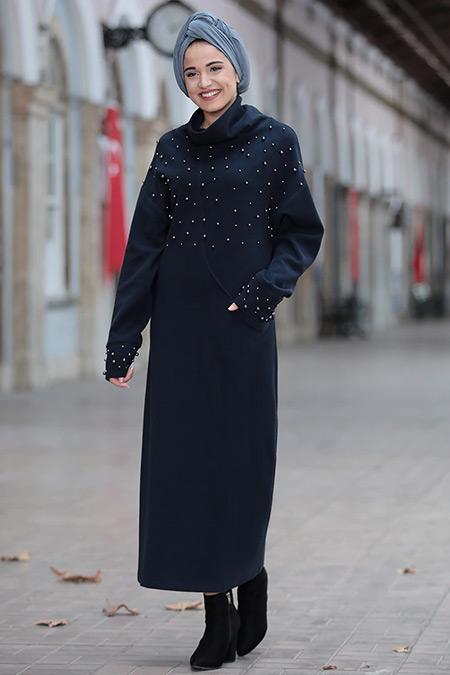 Piennar Lacivert Kumsal Triko Tunik Elbise