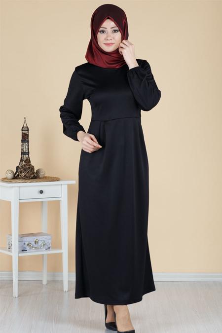 Piliseli Cep Detaylı Tesettür Elbise