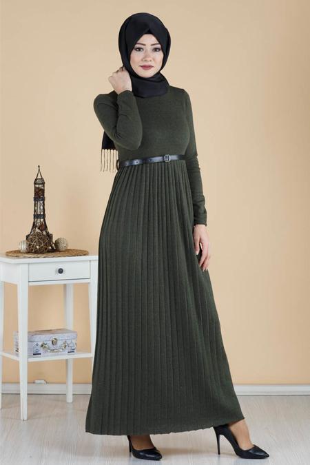 Piliseli Kemer Detaylı Tesettür Elbise