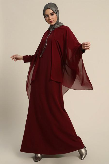 Refka Bordo Yakası Taşlı Abiye Elbise