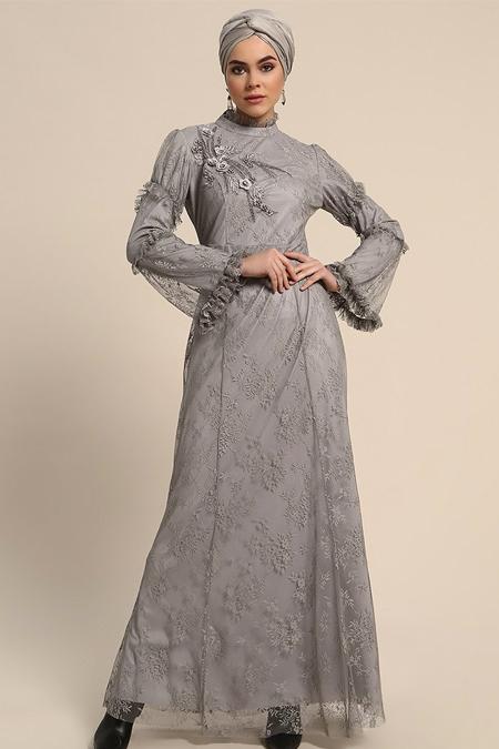 Refka Gri Güpürlü Abiye Elbise