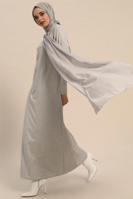 Refka Gri Önü Şifon Detaylı Elbise