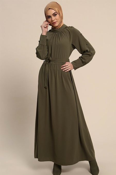 Refka Haki Kolları Düğme Detaylı Elbise