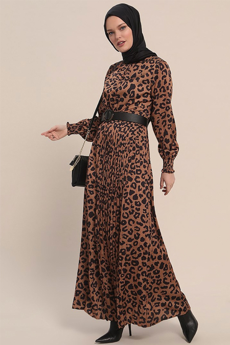 Refka Kahverengi Leopar Desenli Elbise