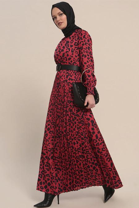Refka Kırmızı Leopar Desenli Elbise